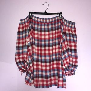 NWT Lane Bryant Off The Shoulder Plaid Blouse